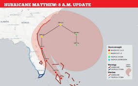 Weather Florida Map by Hurricane Mattew Storm Strengthens As It Tracks Toward Florida