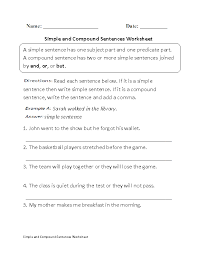 simple and compound sentences worksheet kids stuff