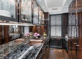 modern kitchen decoration using black glass onyx granite kitchen