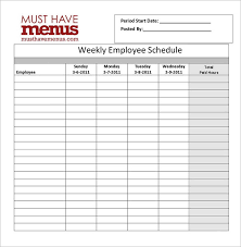 Restaurant Employee Schedule Template Excel by Restaurant Schedule Template 8 Free Excel Word Documents