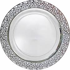 pretty clear plastic 9 dinner plate with silver lace posh