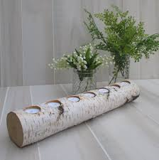 Birch Home Decor Birch Log Led Tea Light Candle Holder Wedding Home Decor Table