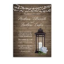wedding invitations rustic rustic metal lantern blue hydrangea wedding invitations