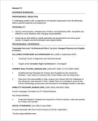 sample professional cv 8 download free documents in pdf word