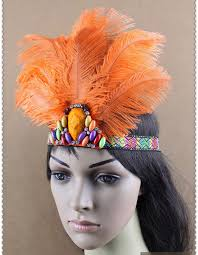feather headbands indian orange feather headband headdress hula samba