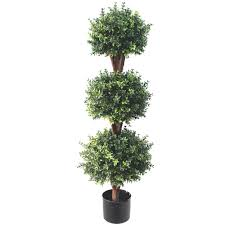Artificial Boxwood Topiary Trees Deluxe Triple Boxwood Ball Topiary Tree From Evergreen Direct