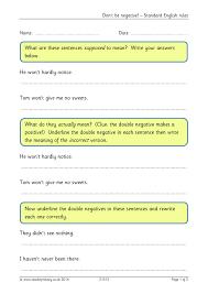 Double Facts Worksheets Worksheet Double Negatives Worksheet Fiercebad Worksheet And
