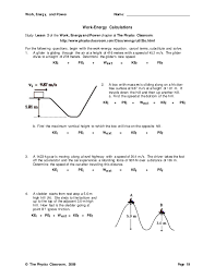 work energy and power worksheet answers worksheets releaseboard