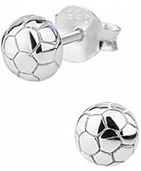 nickel free earrings hypoallergenic sterling silver soccer stud