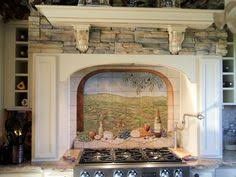 vineyard on tile backsplash mural idea in phoenix az kitchens