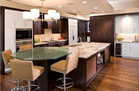 large kitchen with wooden cabinetry and a big island with