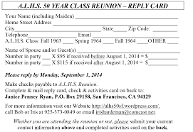 Invitation Card For Reunion Party Reply Card Jpg