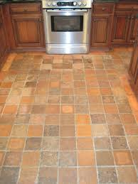 square brown cream tile kitchen floor combined with brown wooden