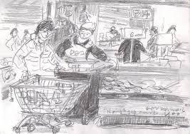 pencil sketch in mart urban sketchers