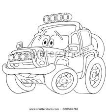 coloring page tractor bulldozer cartoon vehicle stock vector