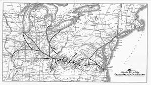 Train Map Of America by The Chesapeake And Ohio Railway