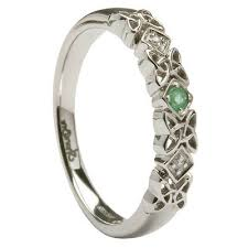 celtic wedding knot ceremony celtic knot ring with emerald diamonds