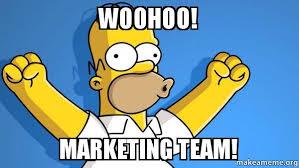 Meme Marketing - woohoo marketing team happy homer make a meme