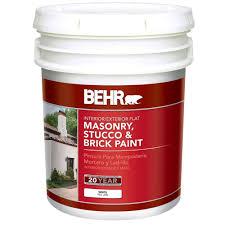 behr 5 gal white flat latex masonry stucco and brick paint 27005