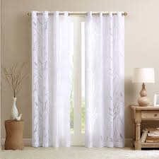 White Curtains With Green Leaves by White Sheer Curtains With Grommets Effective Sheer White