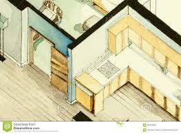 isometric partial architectural watercolor drawing of apartment