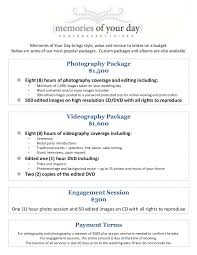 wedding packages prices wedding photography package pricing memories of your day