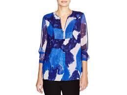 diane von furstenberg camden abstract print silk blouse in blue lyst