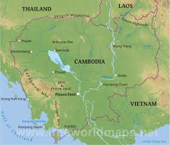 Physical Map Of China by Cambodia Physical Map
