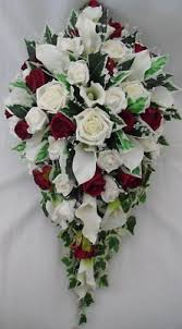 Burgundy Roses Artificial Wedding Flowers Brides Teardrop Bouquet Made With Ivory
