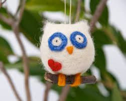 felt ornament owl needle felted wool gift decoration