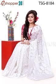 jamdani sharee tangail soft moslin jamdani saree tsg 8184 online shopping in