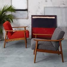 West Elm Armchair Mid Century Show Wood Upholstered Chair Heathered Weave Cayenne