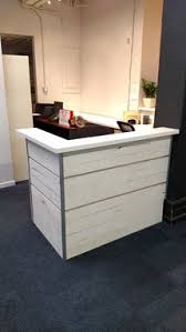 Small White Reception Desk Made White Washed Reclaimed Wood And Steel Reception Desk By