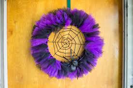 how to make a halloween wreath with mesh ribbon halloween spider web wreath youtube