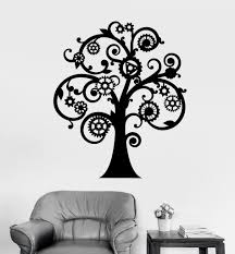 vinyl wall decal mechanical tree steampunk gears stickers ig4187