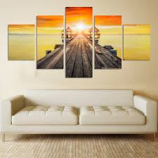 5panels wall art pictures romantic beach lovely bridge seascape