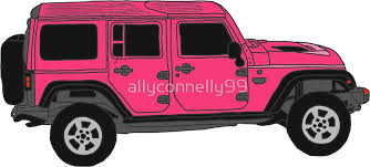 pink jeep rubicon pink jeep wrangler doodle stickers by allyconnelly99 redbubble