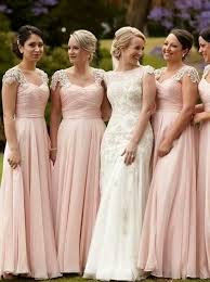 pink bridesmaid dresses buy stunning scoop cap sleeves floor length pink chiffon