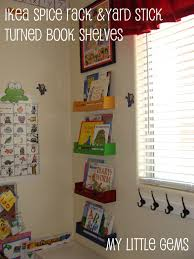 ikea spice rack with added yard stick turned into bookshelves