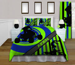 Green And Blue Bedrooms - boys green and blue dirt bike sports bedding set with stripes 149