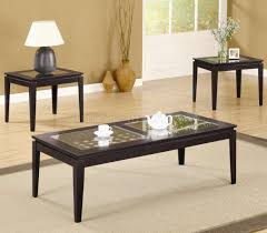 dark walnut finish modern 3pc coffee table set w weave design