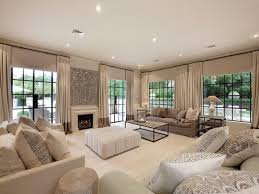 Plan Living Room Using Beige Colours With Carpet  Fireplace - Beige living room designs