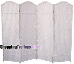 wicker handwoven 4 part panel partition room divider screen white