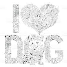 word i love dog for coloring vector decorative object stock vector
