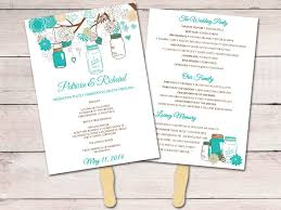 jar wedding programs jar wedding program fan template ceremony program teal