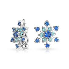 blue topaz earrings sapphire color and blue topaz color cz snowflake clip on earrings