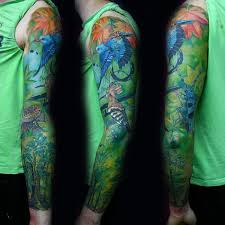 colorful green tree sleeve for guys tattoos