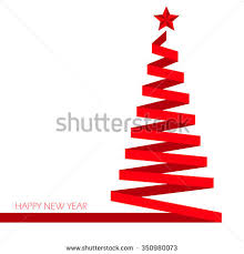 ribbon christmas tree christmas tree ribbon flat vector stock vector 350980073