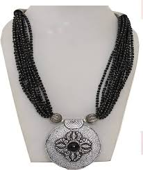 black seed bead necklace images Galz4ever multi layered black seed bead pearl 800 silver plated jpeg