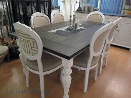 stained table top painted legs dining room table before after houston furniture refinishing